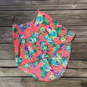 AMBIANCE APPAREL Small Coral Floral Crop Top